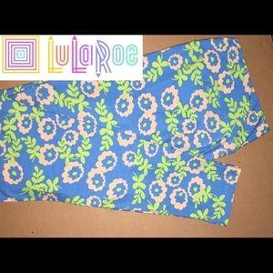 LuLaRoe TC Leggings Floral Blue Beige
